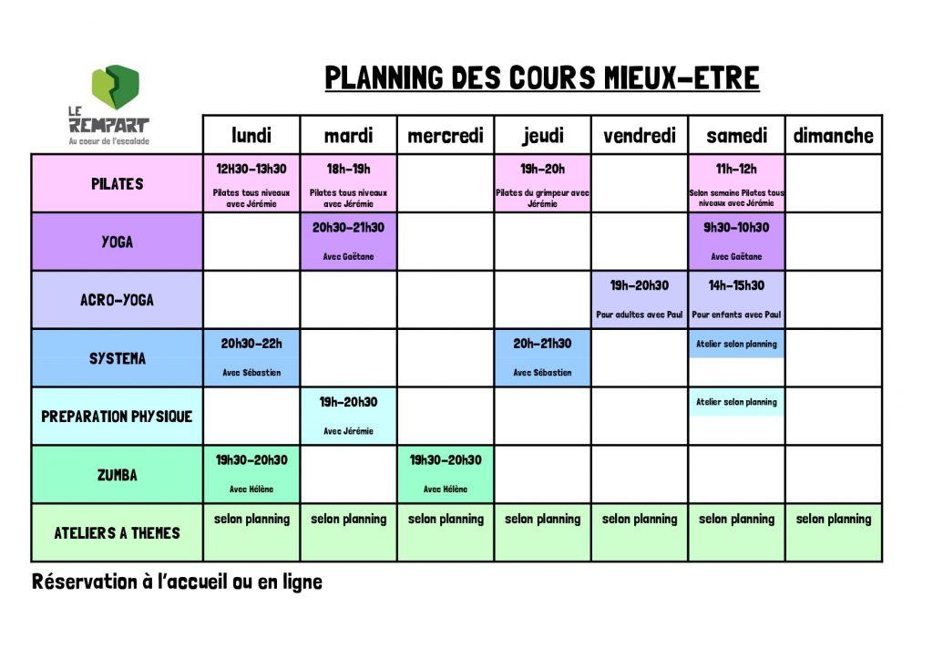 Planning activités mieux-être